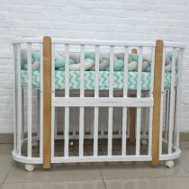 Кроватка детская овальная Nuvola LUX буковые стойки, береза