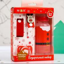 """Подарочный набор """"Дед Мороз"""": бутылочка, пустышка и держатель на ленте"""