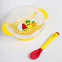 Набор посуды: тарелка с крышкой на присоске 300мл, ложка